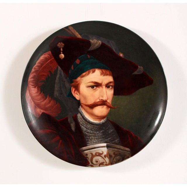 Renaissance 19th Century European Portrait Hand Painted Porcelain Wall Charger For Sale - Image 3 of 12