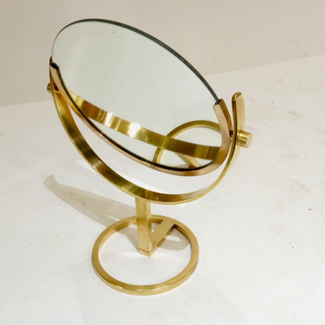 Charles Hollis Jones Brass Vanity Table Top Mirror by Charles Hollis Jones For Sale - Image 4 of 7