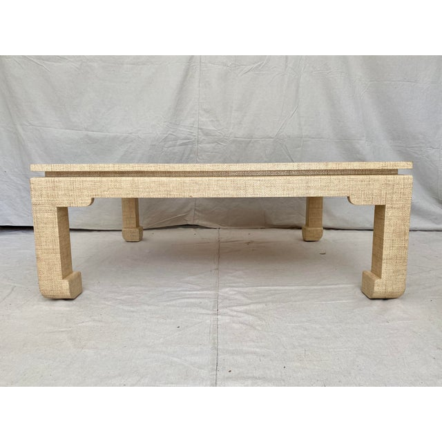 Traditional Grasscloth Wrapped Ming Style Coffee Table For Sale - Image 3 of 11