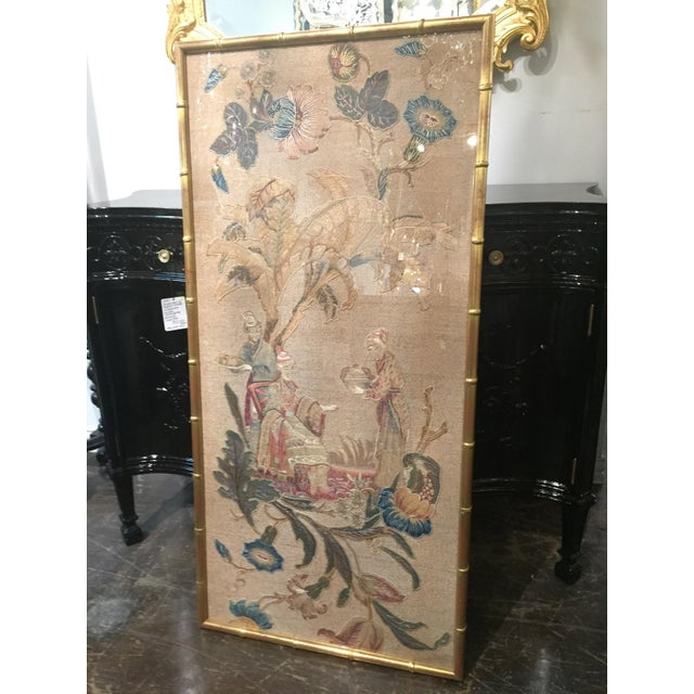 Asian Set of 3 English Silk Embroideries in Gilt Frame For Sale - Image 3 of 9
