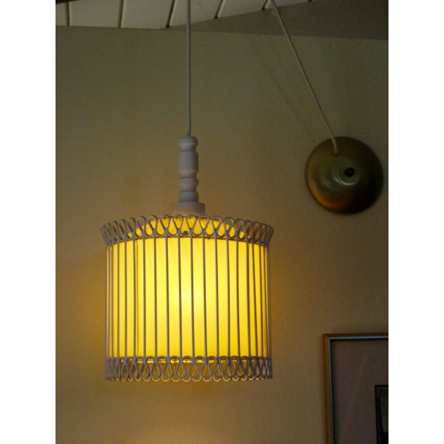 Mid-Century Modern White and Yellow Iron Chandelier For Sale - Image 10 of 11