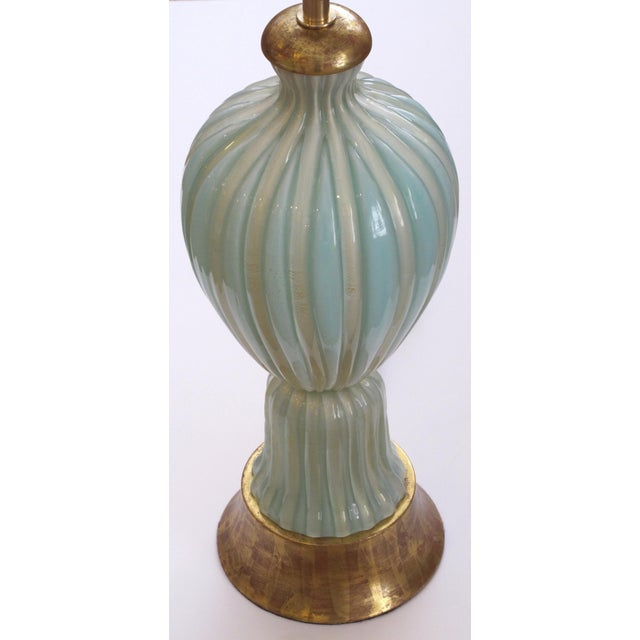 Murano A Large and Good Quality Murano 1950's Barovier & Toso Seafoam Green Lamp For Sale - Image 4 of 5