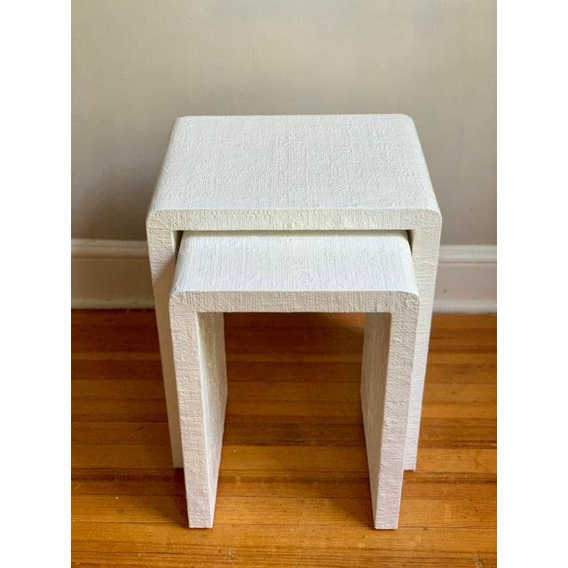 2020s Grasscloth Raffia Nesting Tables - 2 Pieces For Sale - Image 5 of 12