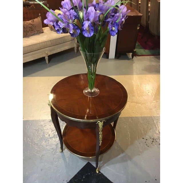 1920s Antique Louis XV Style Bronze Mounted Rams Head End or Drum Table For Sale - Image 5 of 8