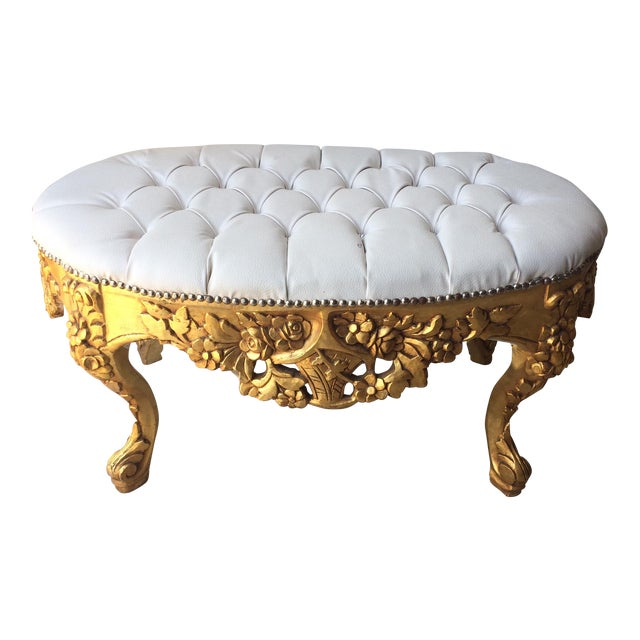 White Leather Tufted Ottoman With Floral Carvings - Image 1 of 7