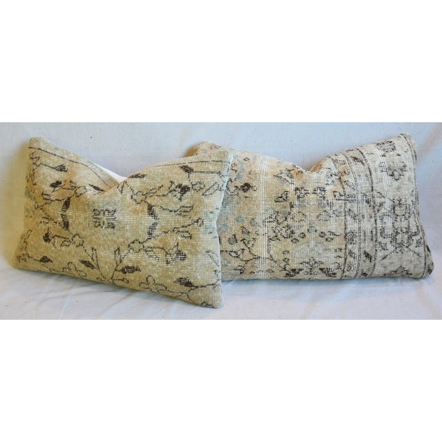 "Antique Soumak Carpet Wool Feather/Down Pillows 26"" X 16"" - Pair For Sale - Image 9 of 13"