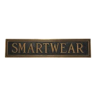 """Vintage Brass Department Store """"Smartwear"""" Sign For Sale"""