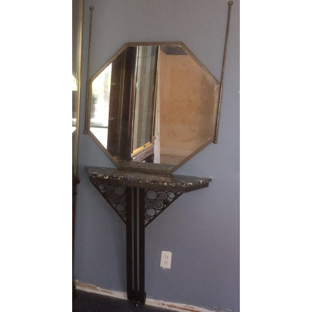 Wrought Iron Console Table and Mirror Set For Sale - Image 10 of 11