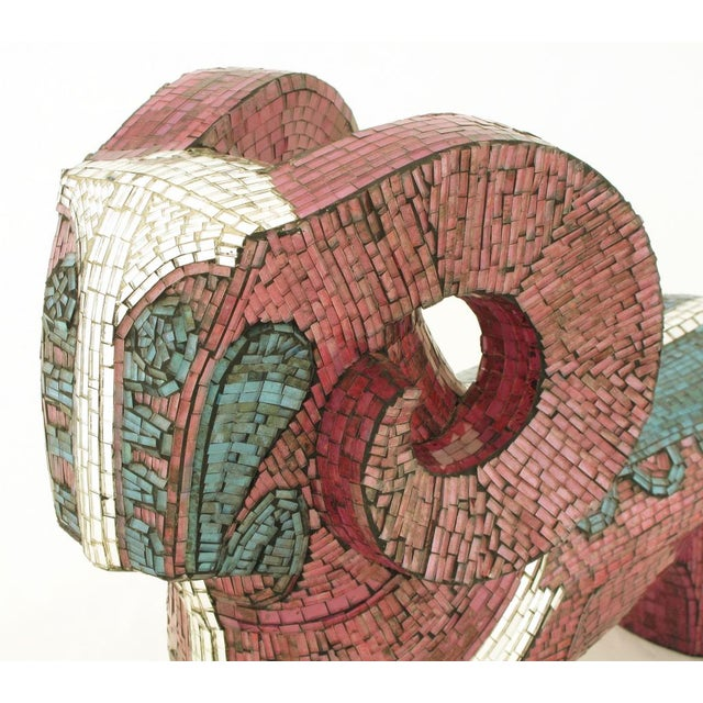 Ceramic Abstract Ram Sculpture Clad In Miniature Glass Mosaic For Sale - Image 7 of 7