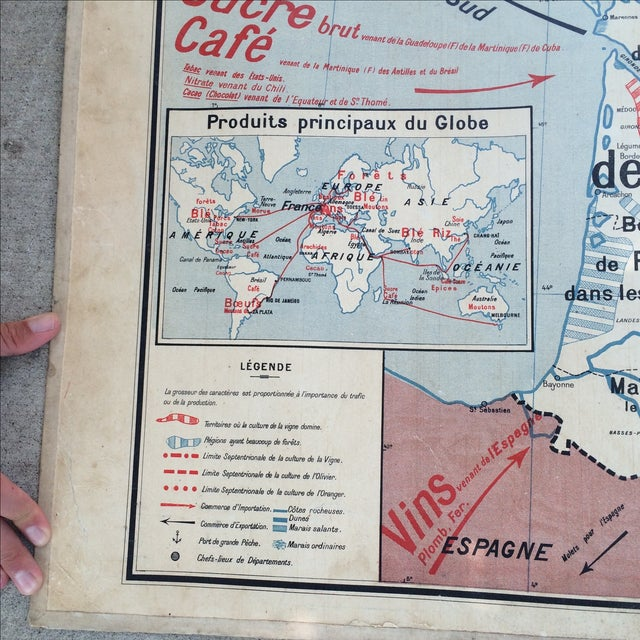 1950s French Two-Sided School Map of France For Sale - Image 4 of 11