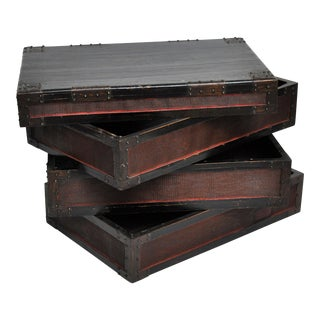 Antique Chinese Woven Bamboo Stacked Boxes - Set of 3