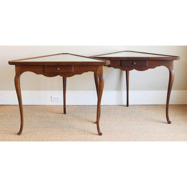 Pair of Mirror Topped Triangular Tables For Sale - Image 9 of 11