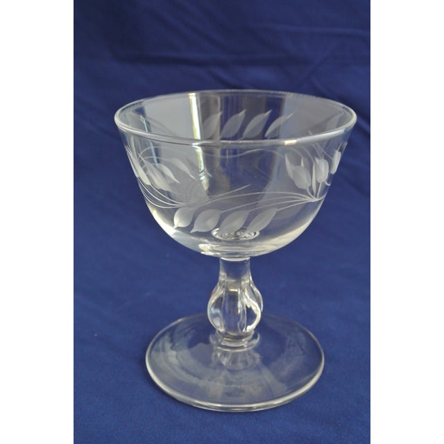 Antique Etched Crystal Champagne Coupes - Set of 9 For Sale - Image 4 of 11