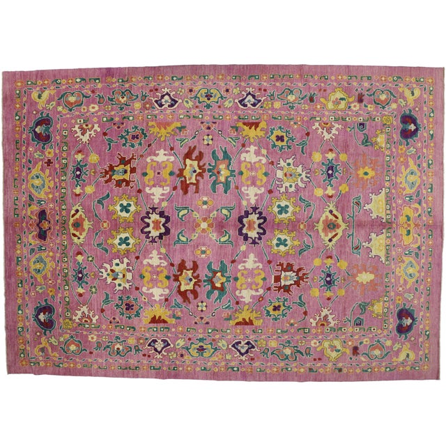 "Dark Pink 20th Century Vintage Turkish Oushak Rug - 12' X 16'10"" For Sale - Image 8 of 9"