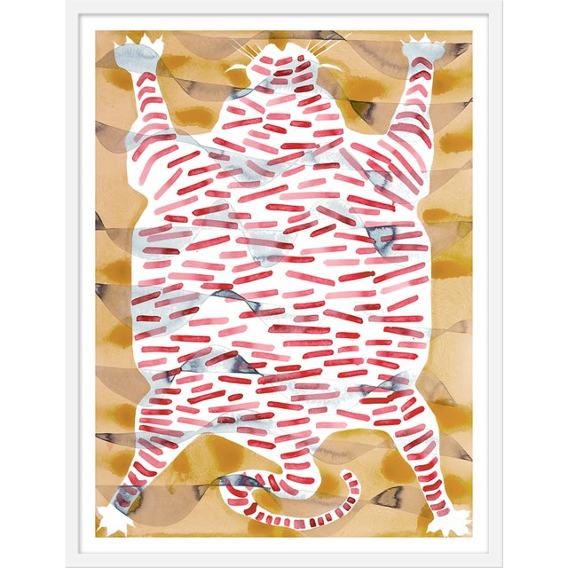 "Contemporary Medium ""Tiger Rug Tan & Red"" Print by Kate Roebuck, 27"" X 35"" For Sale - Image 3 of 3"