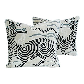 Custom Tailored Clarence House Dragon Fabric Feather/Down Pillows - A Pair