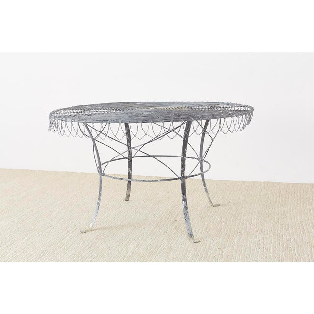 Art Nouveau French Wrought Iron and Wire Garden Dining Table For Sale - Image 3 of 13