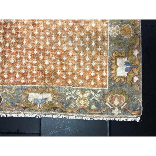 Orange Floral Antique Rug - 3′10″ × 7′1″ For Sale - Image 10 of 11