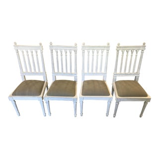 White-Washed Noir Dining Chairs For Sale