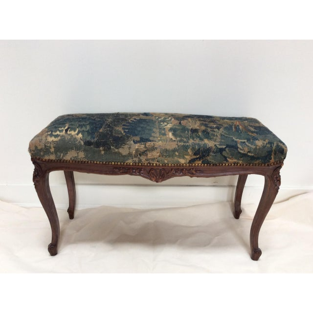 French 18th C Tapestry French Walnut Bench For Sale - Image 3 of 6