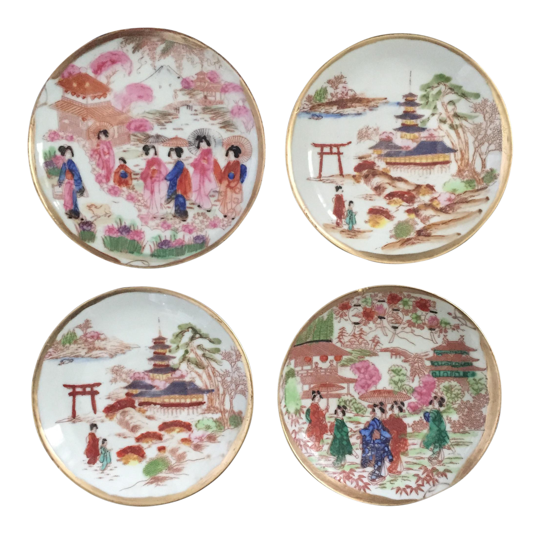 Decorative Chinoiserie Asian Pagoda Scene Plates - Set of 4  sc 1 st  Chairish : asian decorative plates - pezcame.com