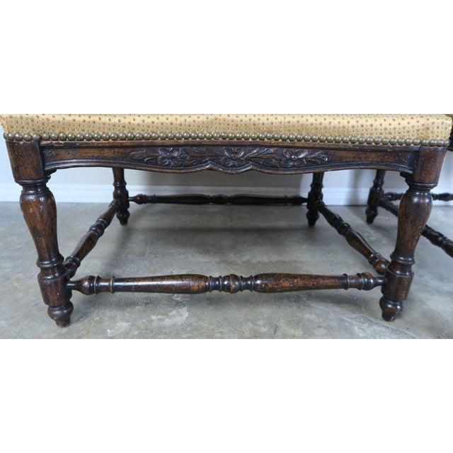 Gold French Louis XV Style Walnut Benches With Loose Cushions Circa 1900s, Pair For Sale - Image 8 of 9