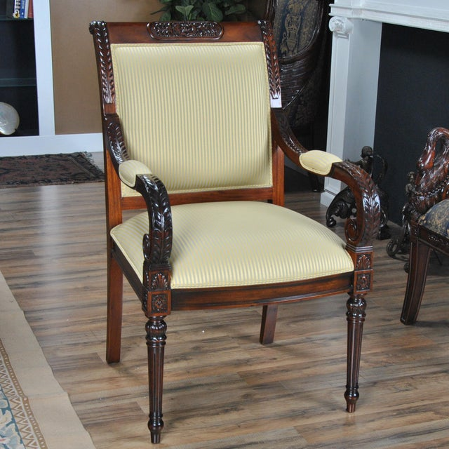 Carved Empire Upholstered Arm Chair - a Pair For Sale - Image 12 of 13