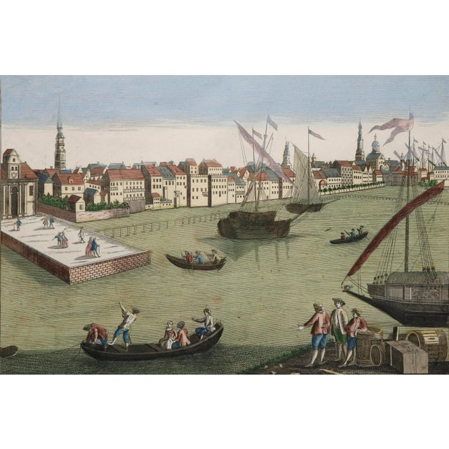 "An antique hand colored engraving showing the port of Rotterdam. Inscribed in Latin and Italian ""Prospectus portæ veteris..."