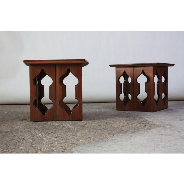 Pair of Vintage Moorish Style Walnut Side Tables with Carved Decoration For Sale - Image 4 of 12