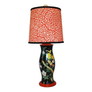 Reverse-Printed Glass Chinoiserie Lamp With Custom Shade For Sale