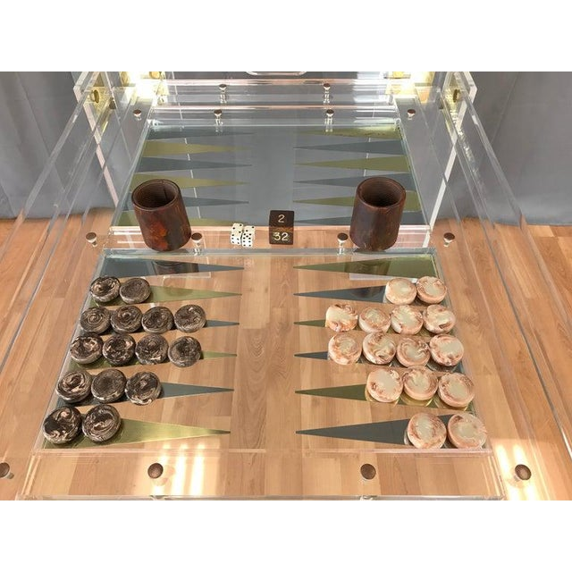 Metal Lucite and Brass Backgammon Game Table in the Manner of Charles Jones For Sale - Image 7 of 13