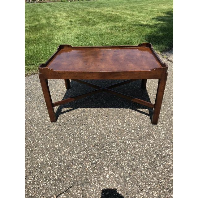 Coffee Traditional Walnut Coffee Table by Henredon For Sale - Image 8 of 8