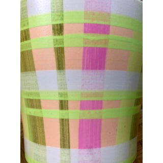 Hand-Painted Neon Plaid Check Pink and Green Planter Catchall Preview
