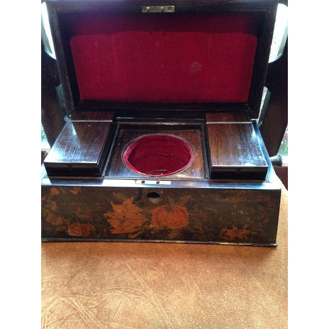 Painted English Victorian Tea Caddy with Original Fittings and Lined in Velvet - Image 5 of 8