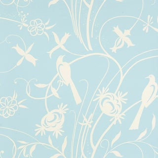 Schumacher Sky Meadow Wallpaper in Light Blue For Sale