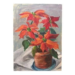 Vintage Orange Floral Still Life Oil Painting For Sale