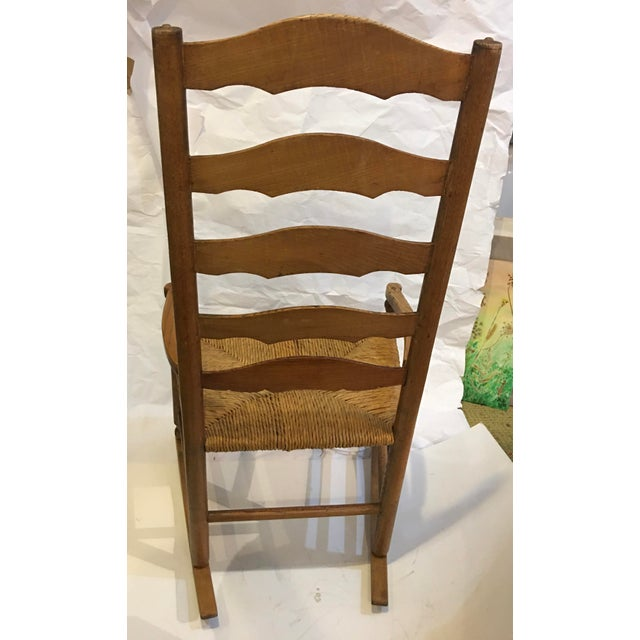 Wood Vintage Rush Seat Rocking Chair For Sale - Image 7 of 9