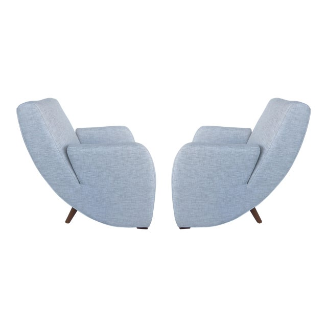 Mid-Century Modern Upholstered Club Chairs-a Pair - Image 1 of 10