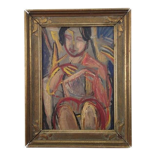 Mid 20th Century Figurative Female Nude Oil Painting, Framed For Sale