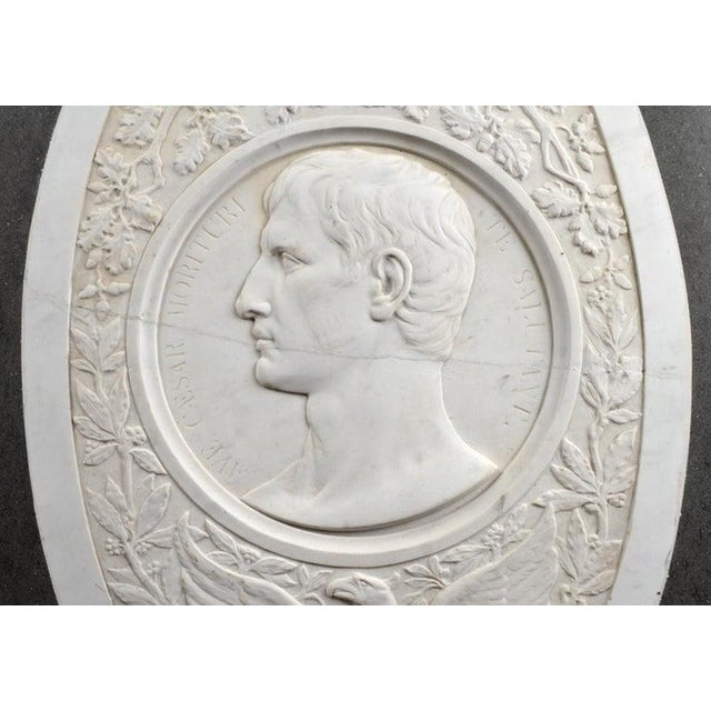 Portraiture Large 19th Century Oval Marble Relief of the Roman Emperor Claudius With Eagle For Sale - Image 3 of 10