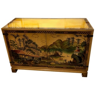 John Widdicomb Chinoiserie Style Hand Painted Server or Chest For Sale
