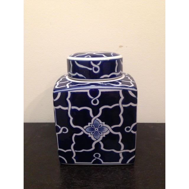 Blue & White Square Ginger Jar - Image 2 of 6