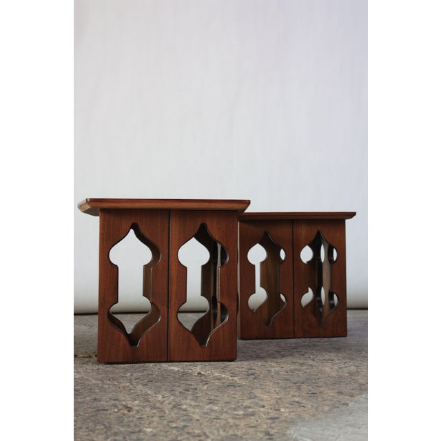 1950s Pair of Vintage Moorish Style Walnut Side Tables with Carved Decoration For Sale - Image 5 of 12
