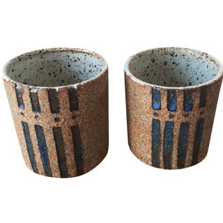 Modern Studio Signed Pottery Cups - a Pair
