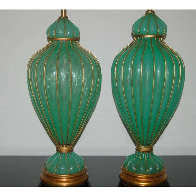 Gold Marbro Murano Opaline Glass Table Lamps Green For Sale - Image 8 of 9