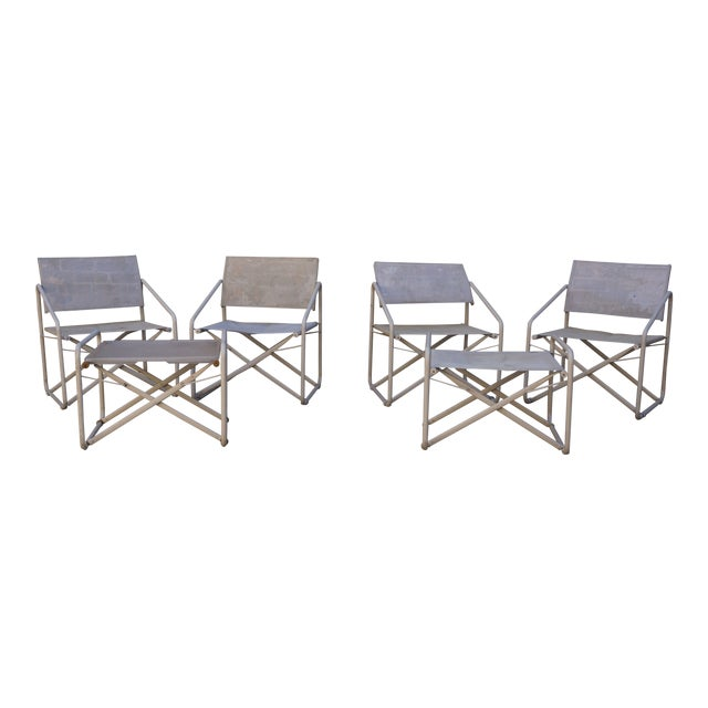 77175d845b33 Vintage Mid-Century Brown Jordan Nomad Collection Outdoor Chairs   Ottomans  - 6 Pc.