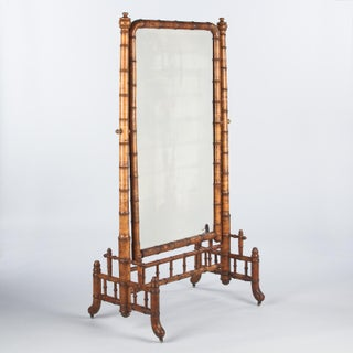 Napoleon III Faux-Bamboo Psychee Mirror, Late 1800s