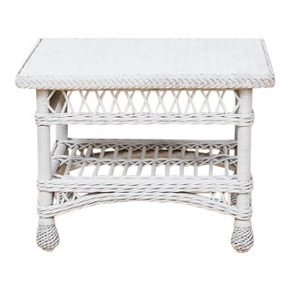 Vintage Whitewashed Wicker Side Table, 1970s