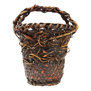 Large Bamboo Basket Interwoven Branches For Sale