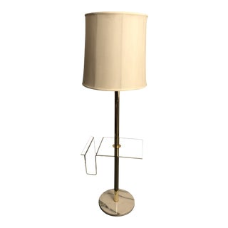 Mid-Century Lucite, Brass & Marble Floor Lamp For Sale